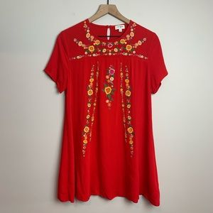 Umgee Red Floral Embroidered Tunic Dress